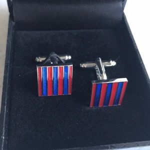 Other - ❤️Red Blue & Silver Cuff Links 👔🚨🇺🇸